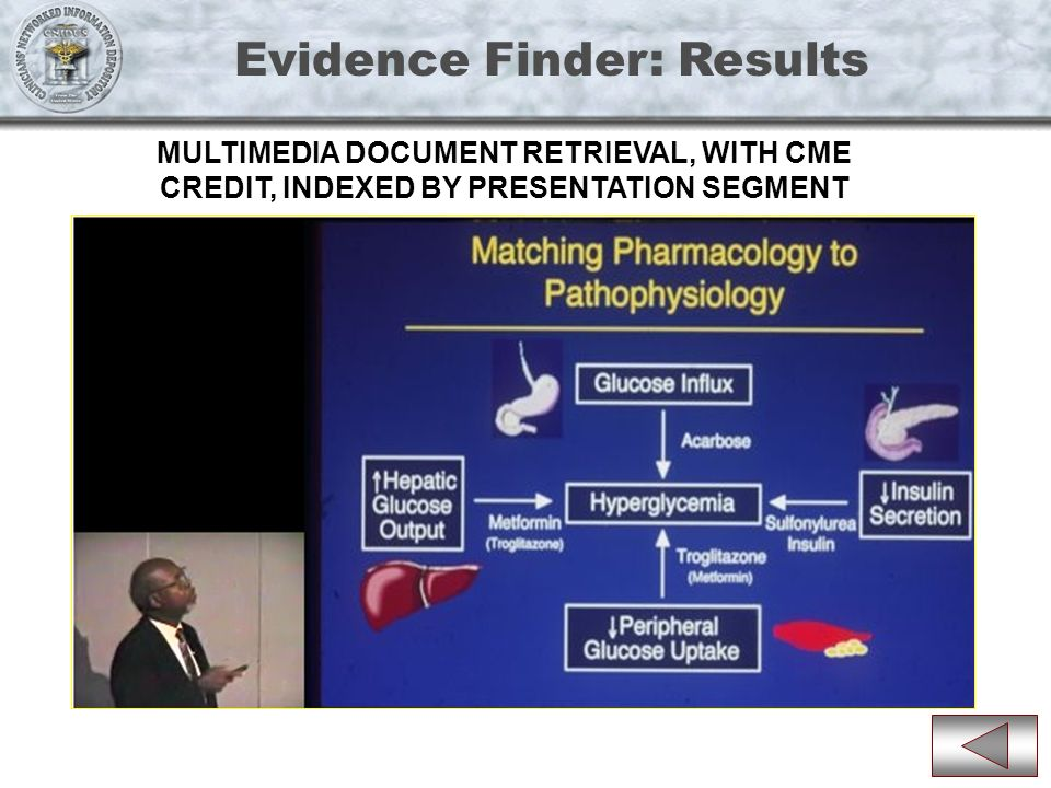 Evidence Finder: Results MULTIMEDIA DOCUMENT RETRIEVAL, WITH CME CREDIT, INDEXED BY PRESENTATION SEGMENT