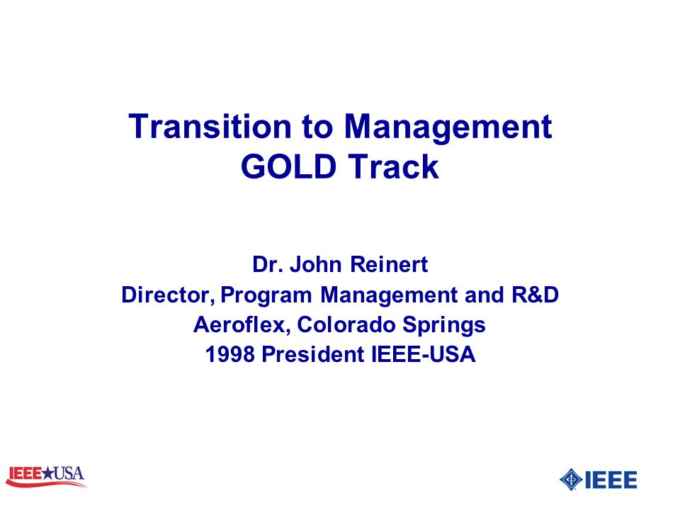 Transition to Management GOLD Track Dr.
