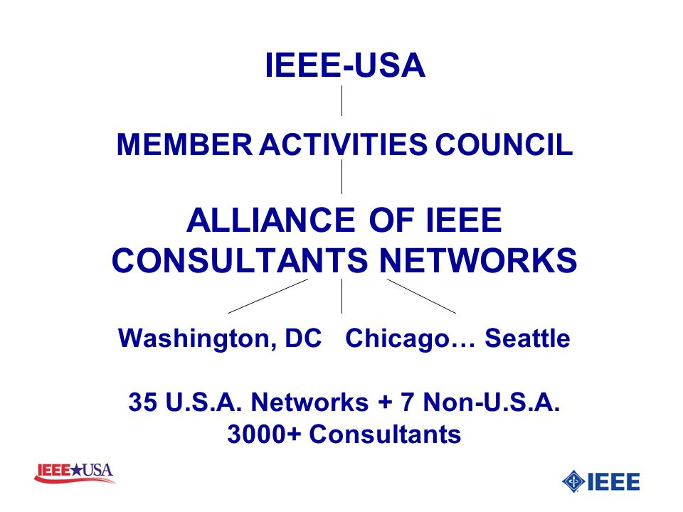 IEEE-USA MEMBER ACTIVITIES COUNCIL ALLIANCE OF IEEE CONSULTANTS NETWORKS Washington, DC Chicago… Seattle 35 U.S.A.