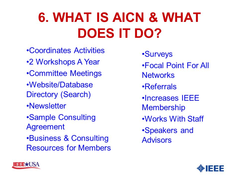 6. WHAT IS AICN & WHAT DOES IT DO.
