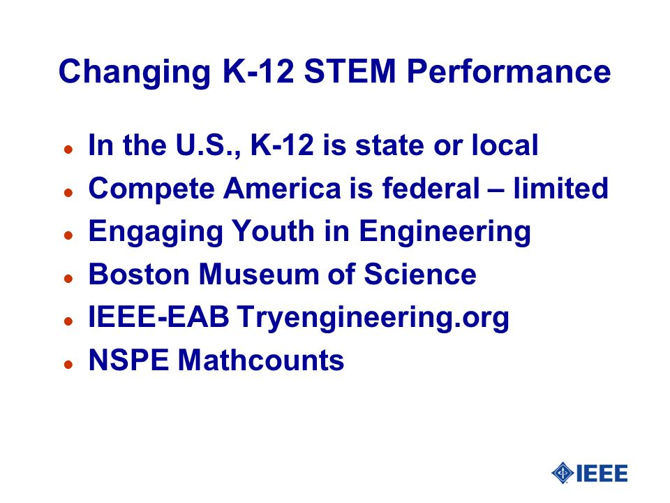 Changing K-12 STEM Performance l In the U.S., K-12 is state or local l Compete America is federal – limited l Engaging Youth in Engineering l Boston Museum of Science l IEEE-EAB Tryengineering.org l NSPE Mathcounts
