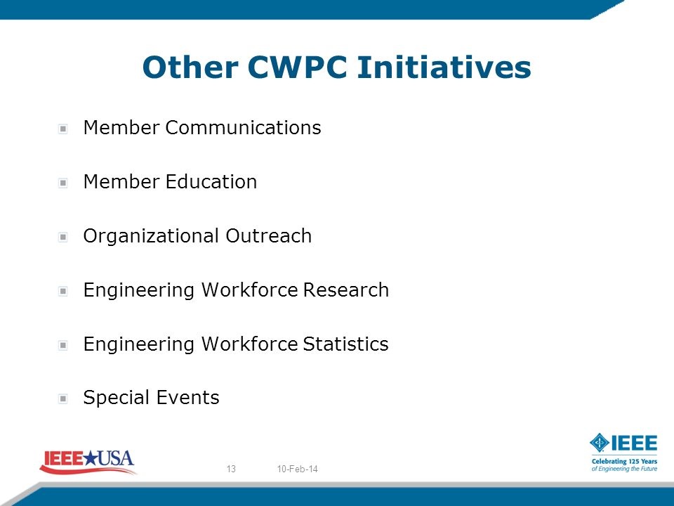 Other CWPC Initiatives Member Communications Member Education Organizational Outreach Engineering Workforce Research Engineering Workforce Statistics Special Events 10-Feb-1413