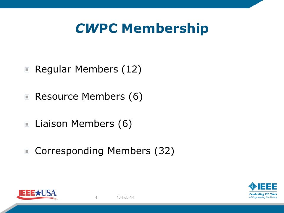 CWPC Membership Regular Members (12) Resource Members (6) Liaison Members (6) Corresponding Members (32) 10-Feb-144
