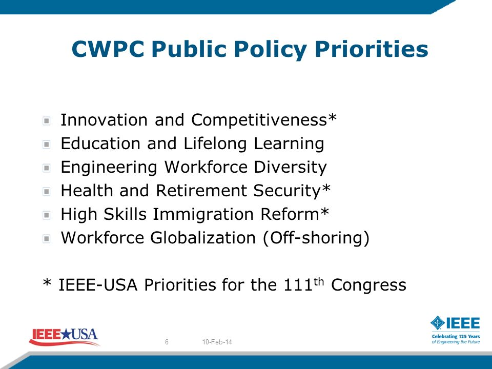 CWPC Public Policy Priorities Innovation and Competitiveness* Education and Lifelong Learning Engineering Workforce Diversity Health and Retirement Security* High Skills Immigration Reform* Workforce Globalization (Off-shoring) * IEEE-USA Priorities for the 111 th Congress 10-Feb-146
