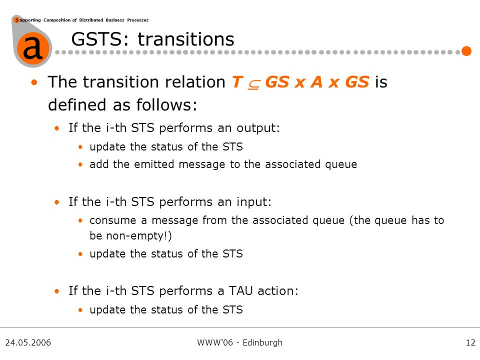 24.05.2006WWW 06 - Edinburgh GSTS: transitions 12 The transition relation T GS x A x GS is defined as follows: If the i-th STS performs an output: update the status of the STS add the emitted message to the associated queue If the i-th STS performs an input: consume a message from the associated queue (the queue has to be non-empty!) update the status of the STS If the i-th STS performs a TAU action: update the status of the STS