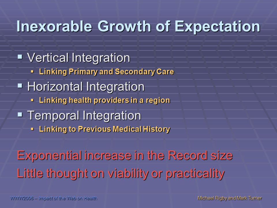 WWW2006 – Impact of the Web on HealthMichael Rigby and Mark Turner Inexorable Growth of Expectation Vertical Integration Vertical Integration Linking Primary and Secondary Care Linking Primary and Secondary Care Horizontal Integration Horizontal Integration Linking health providers in a region Linking health providers in a region Temporal Integration Temporal Integration Linking to Previous Medical History Linking to Previous Medical History Exponential increase in the Record size Little thought on viability or practicality