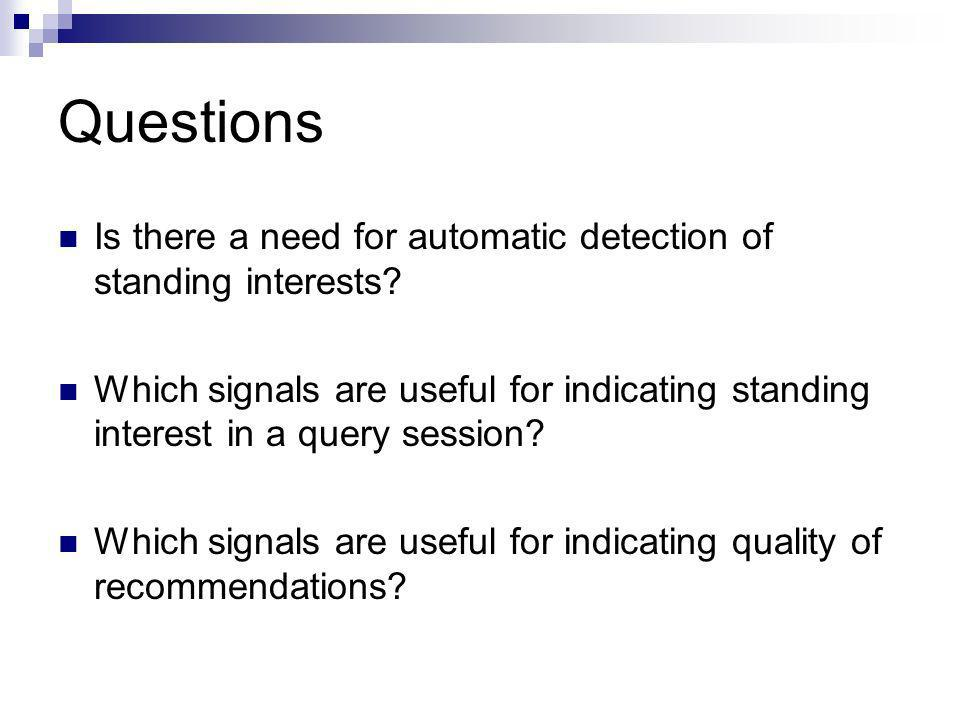 Questions Is there a need for automatic detection of standing interests.