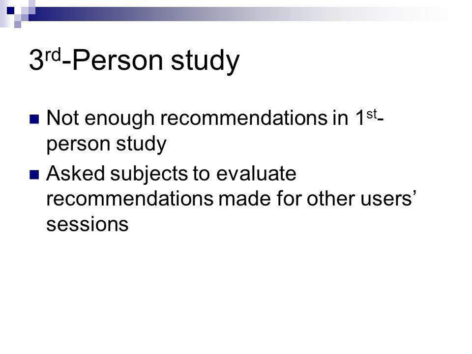 3 rd -Person study Not enough recommendations in 1 st - person study Asked subjects to evaluate recommendations made for other users sessions