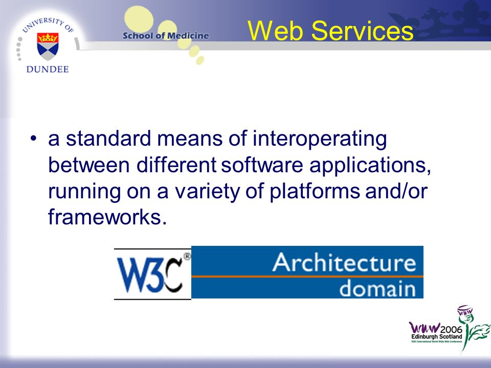 Web Services a standard means of interoperating between different software applications, running on a variety of platforms and/or frameworks.