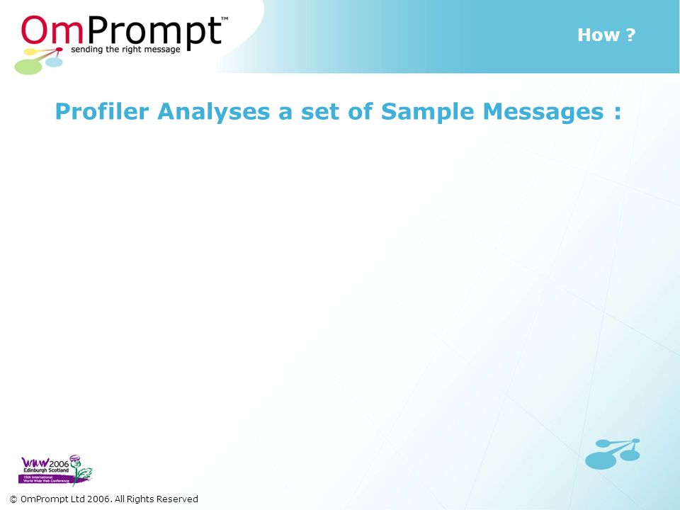 How © OmPrompt Ltd 2006. All Rights Reserved Profiler Analyses a set of Sample Messages :