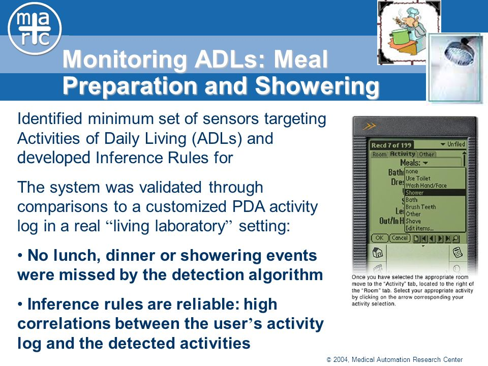 © 2004, Medical Automation Research Center Monitoring ADLs: Meal Preparation and Showering Identified minimum set of sensors targeting Activities of Daily Living (ADLs) and developed Inference Rules for The system was validated through comparisons to a customized PDA activity log in a real living laboratory setting: No lunch, dinner or showering events were missed by the detection algorithm Inference rules are reliable: high correlations between the user s activity log and the detected activities
