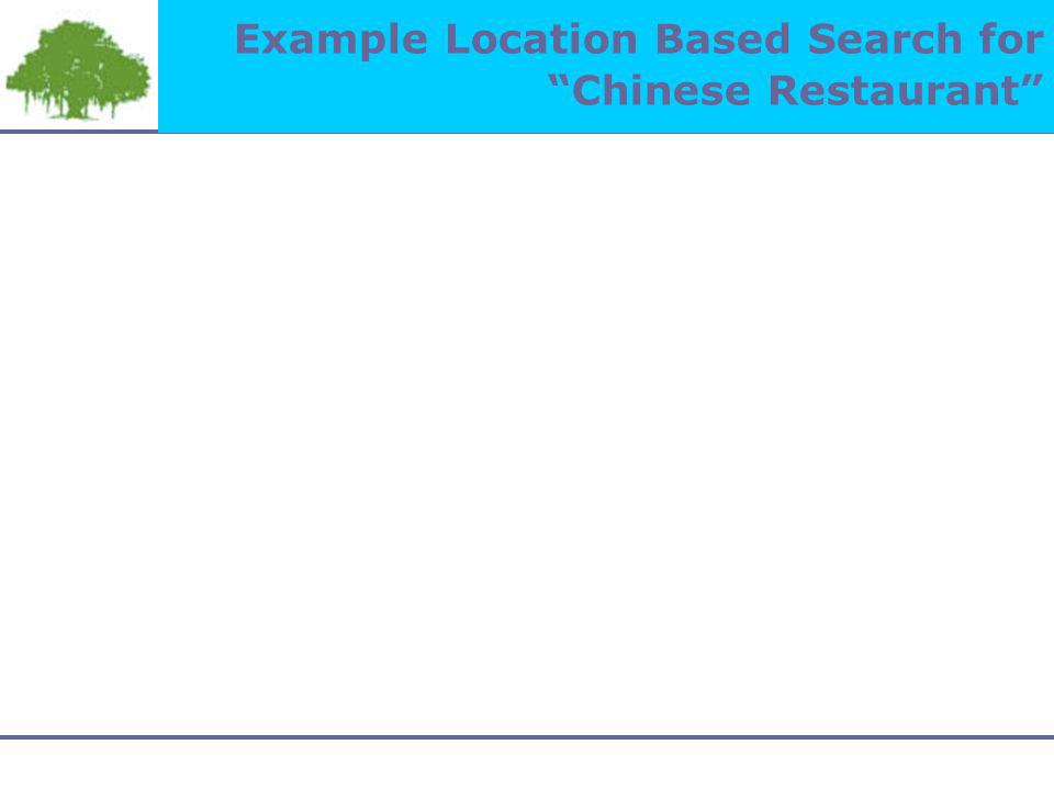 Example Location Based Search for Chinese Restaurant
