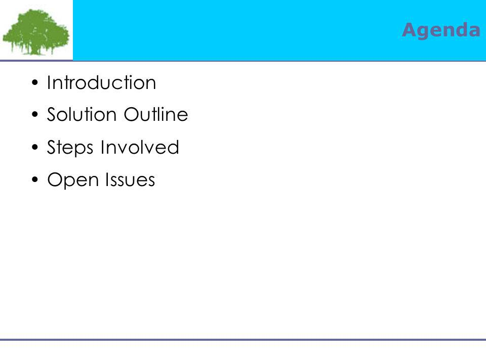 Agenda Introduction Solution Outline Steps Involved Open Issues