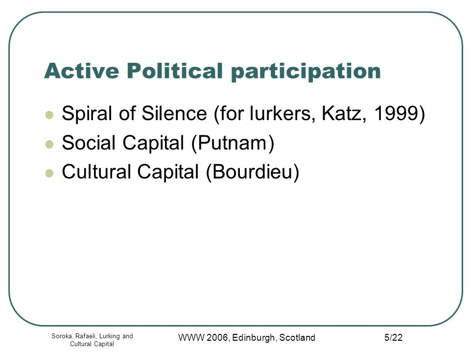 Soroka, Rafaeli, Lurking and Cultural Capital WWW 2006, Edinburgh, Scotland 5/22 Active Political participation Spiral of Silence (for lurkers, Katz, 1999) Social Capital (Putnam) Cultural Capital (Bourdieu)