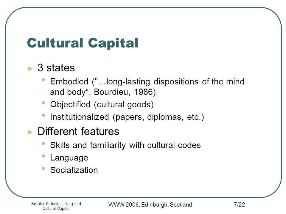 Soroka, Rafaeli, Lurking and Cultural Capital WWW 2006, Edinburgh, Scotland 7/22 Cultural Capital 3 states Embodied ( …long-lasting dispositions of the mind and body, Bourdieu, 1986) Objectified (cultural goods) Institutionalized (papers, diplomas, etc.) Different features Skills and familiarity with cultural codes Language Socialization
