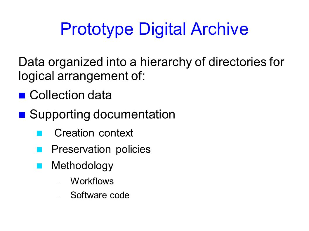 Prototype Digital Archive Data organized into a hierarchy of directories for logical arrangement of: Collection data Supporting documentation Creation context Preservation policies Methodology - Workflows - Software code