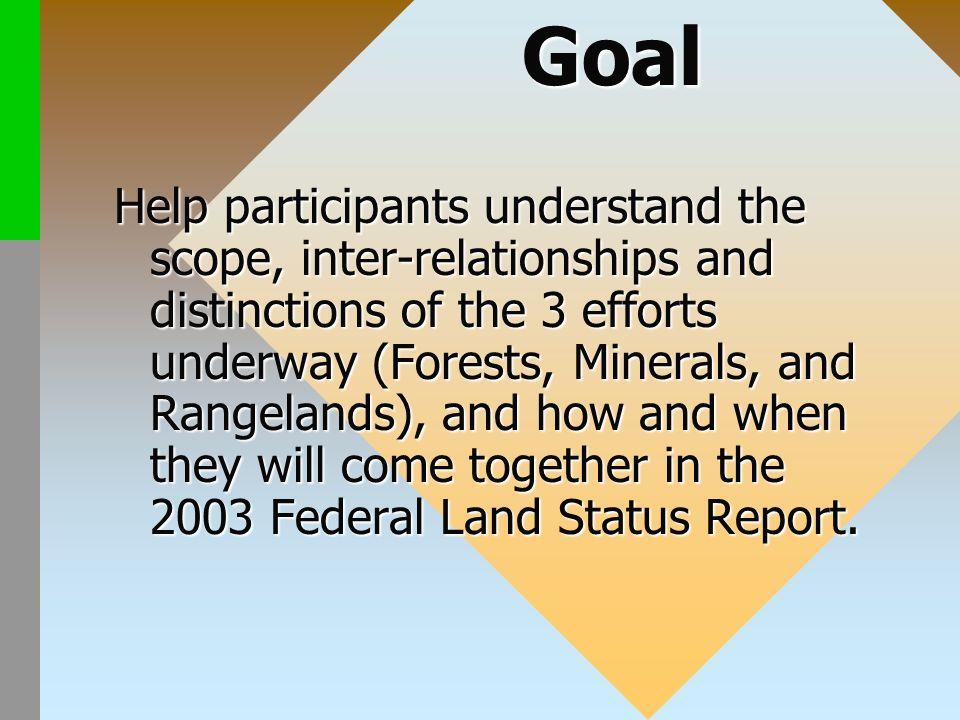 Help participants understand the scope, inter-relationships and distinctions of the 3 efforts underway (Forests, Minerals, and Rangelands), and how and when they will come together in the 2003 Federal Land Status Report.