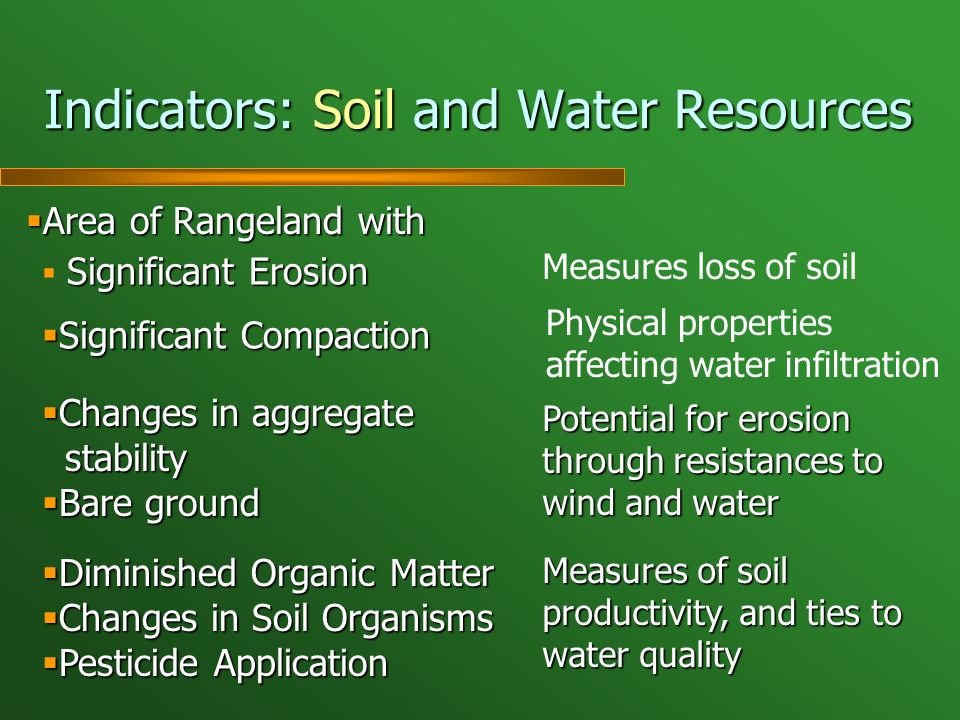 Indicators: Soil and Water Resources Area of Rangeland with Area of Rangeland with Significant Erosion Significant Compaction Significant Compaction Changes in aggregate Changes in aggregate stability stability Bare ground Bare ground Diminished Organic Matter Diminished Organic Matter Changes in Soil Organisms Changes in Soil Organisms Pesticide Application Pesticide Application Measures loss of soil Physical properties affecting water infiltration Potential for erosion through resistances to wind and water Measures of soil productivity, and ties to water quality