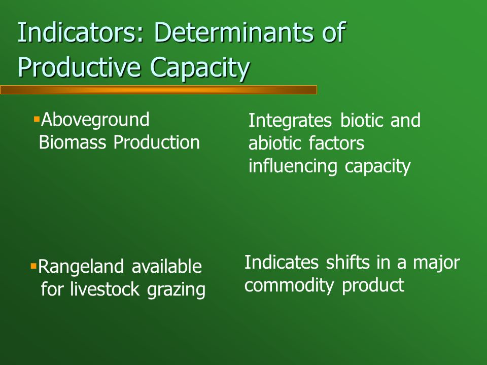 Indicators: Determinants of Productive Capacity Aboveground Biomass Production Integrates biotic and abiotic factors influencing capacity Rangeland available for livestock grazing Indicates shifts in a major commodity product