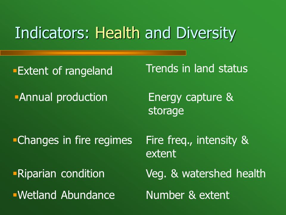 Indicators: Health and Diversity Extent of rangeland Trends in land status Annual productionEnergy capture & storage Changes in fire regimesFire freq., intensity & extent Riparian conditionVeg.