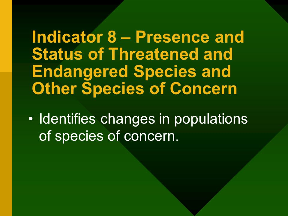 Indicator 8 – Presence and Status of Threatened and Endangered Species and Other Species of Concern Identifies changes in populations of species of concern.