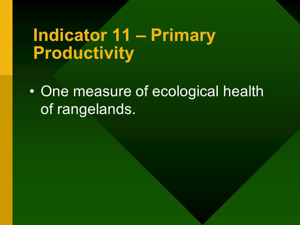 Indicator 11 – Primary Productivity One measure of ecological health of rangelands.
