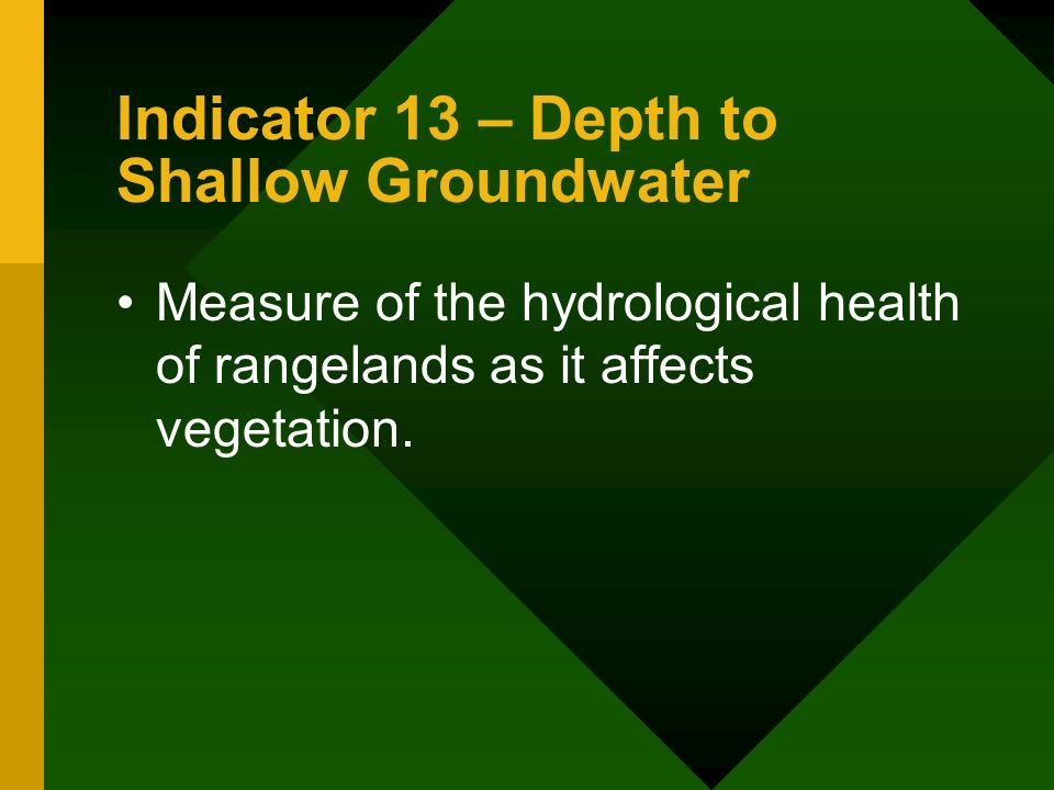 Indicator 13 – Depth to Shallow Groundwater Measure of the hydrological health of rangelands as it affects vegetation.