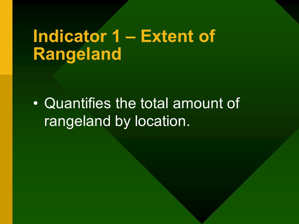 Indicator 1 – Extent of Rangeland Quantifies the total amount of rangeland by location.