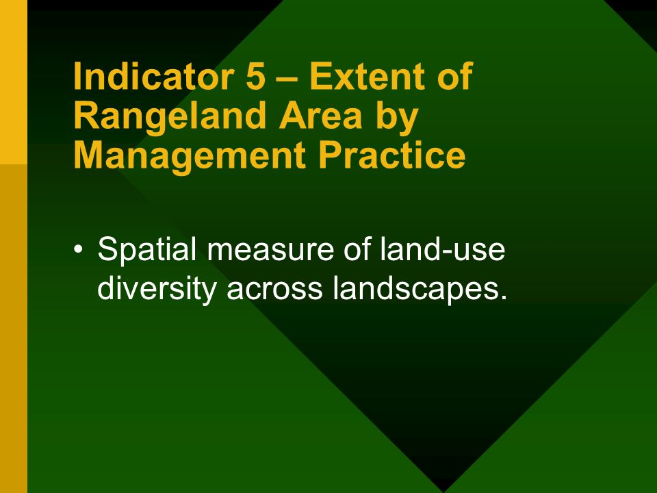 Indicator 5 – Extent of Rangeland Area by Management Practice Spatial measure of land-use diversity across landscapes.