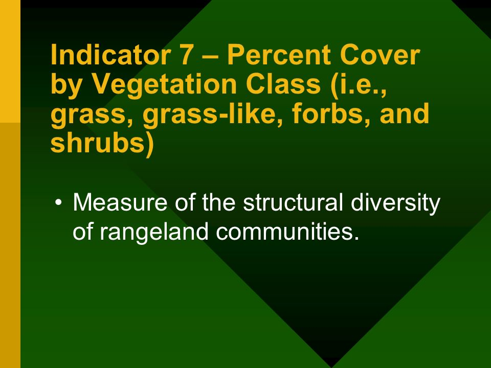 Indicator 7 – Percent Cover by Vegetation Class (i.e., grass, grass-like, forbs, and shrubs) Measure of the structural diversity of rangeland communities.