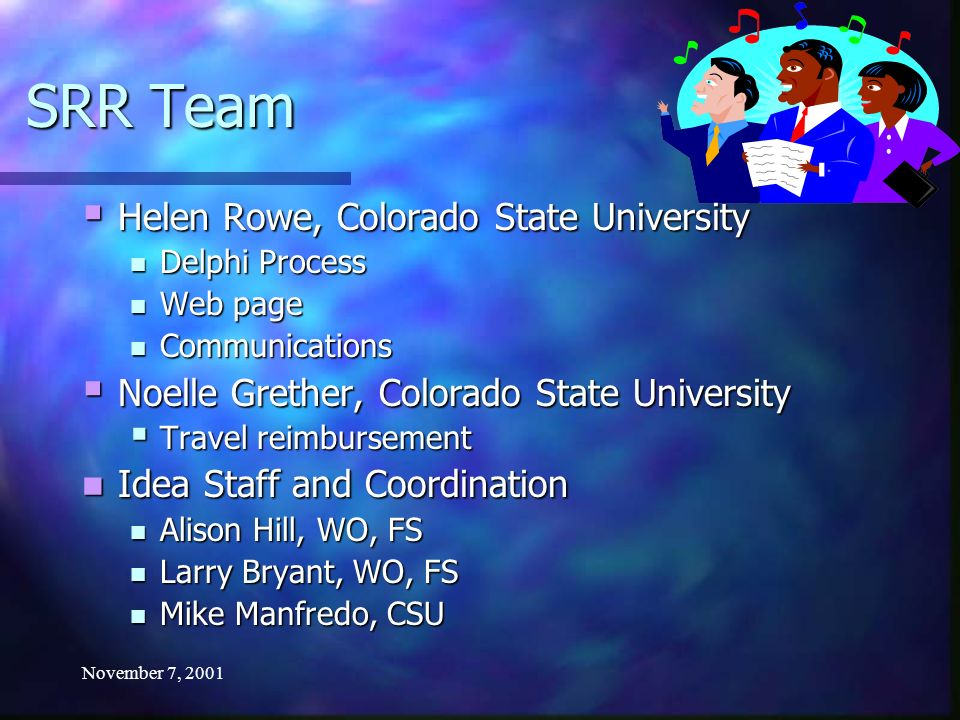 November 7, 2001 SRR Team Helen Rowe, Colorado State University Helen Rowe, Colorado State University Delphi Process Delphi Process Web page Web page Communications Communications Noelle Grether, Colorado State University Noelle Grether, Colorado State University Travel reimbursement Travel reimbursement Idea Staff and Coordination Idea Staff and Coordination Alison Hill, WO, FS Alison Hill, WO, FS Larry Bryant, WO, FS Larry Bryant, WO, FS Mike Manfredo, CSU Mike Manfredo, CSU