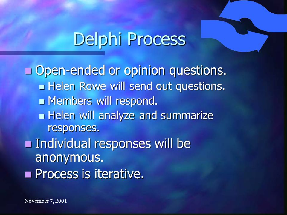 November 7, 2001 Delphi Process Open-ended or opinion questions.