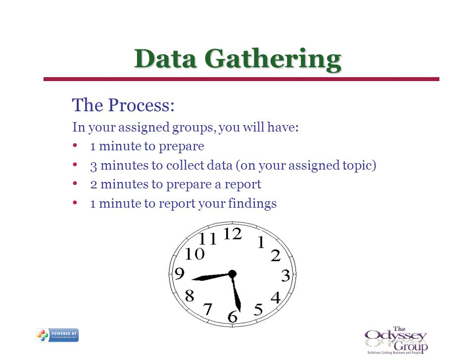 Data Gathering The Process: In your assigned groups, you will have: 1 minute to prepare 3 minutes to collect data (on your assigned topic) 2 minutes to prepare a report 1 minute to report your findings