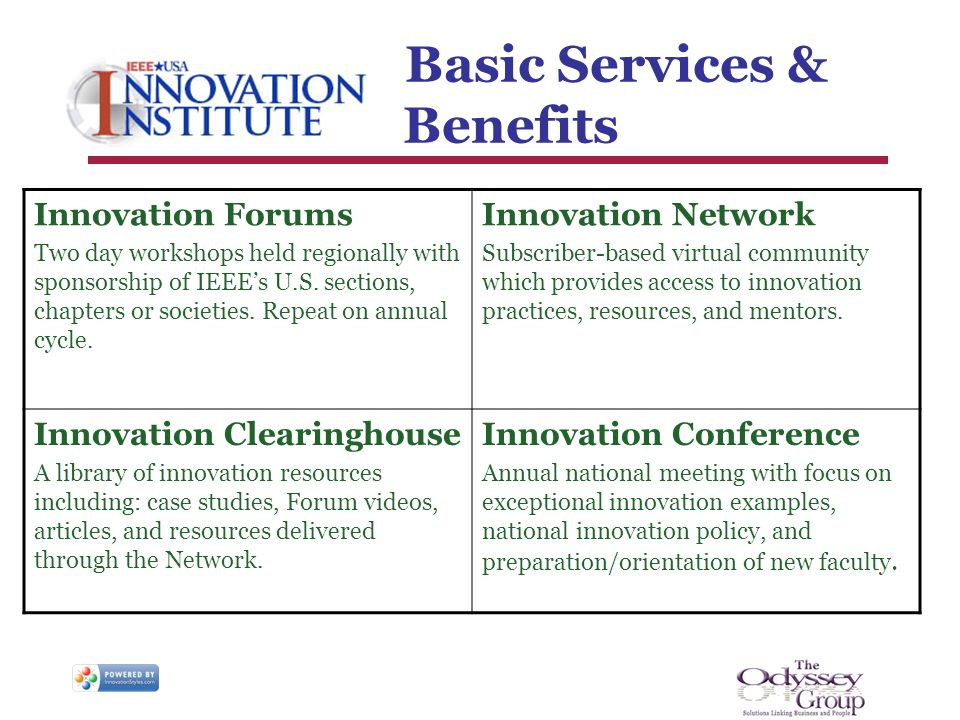 Basic Services & Benefits Innovation Forums Two day workshops held regionally with sponsorship of IEEEs U.S.