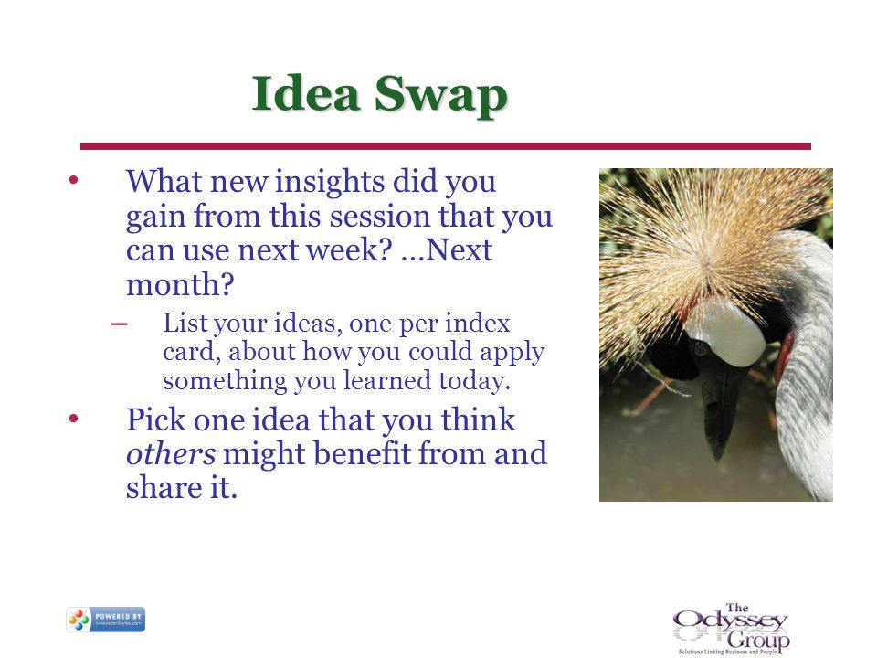 Idea Swap What new insights did you gain from this session that you can use next week.