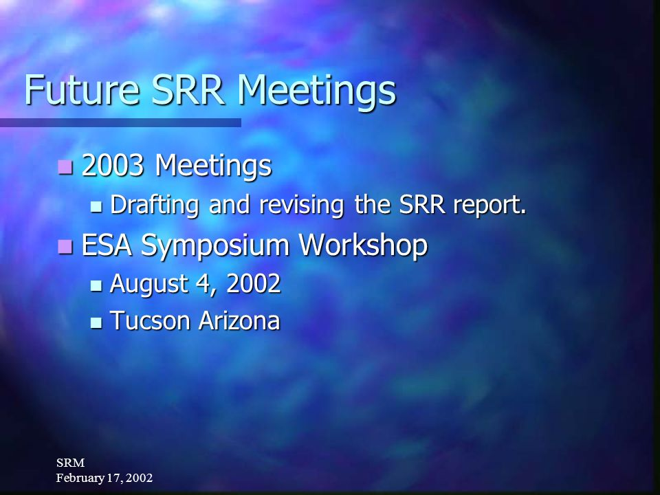 SRM February 17, 2002 Future SRR Meetings Review and critique indicators.