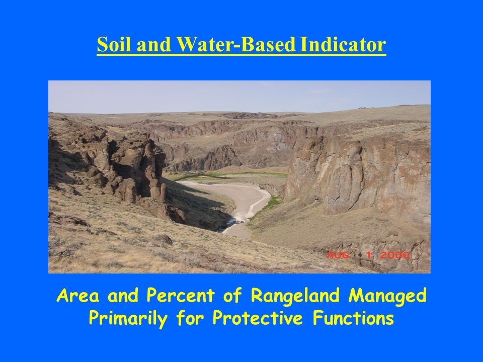 Soil and Water-Based Indicator Area and Percent of Rangeland Managed Primarily for Protective Functions