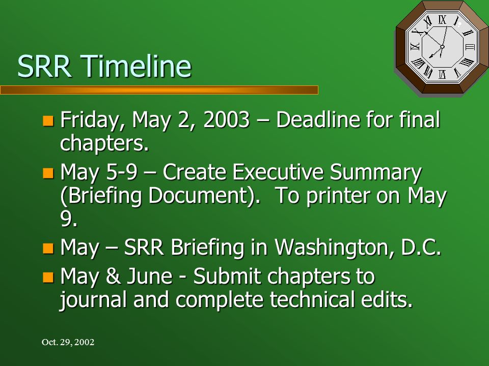 Oct. 29, 2002 SRR Timeline Friday, May 2, 2003 – Deadline for final chapters.