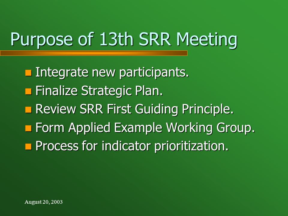 August 20, 2003 Purpose of 13th SRR Meeting Integrate new participants.