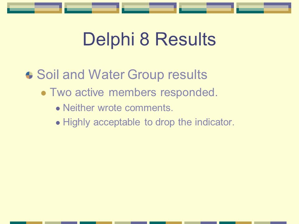 Delphi 8 Results Soil and Water Group results Two active members responded.