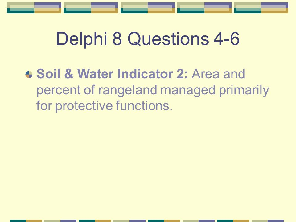 Delphi 8 Questions 4-6 Soil & Water Indicator 2: Area and percent of rangeland managed primarily for protective functions.