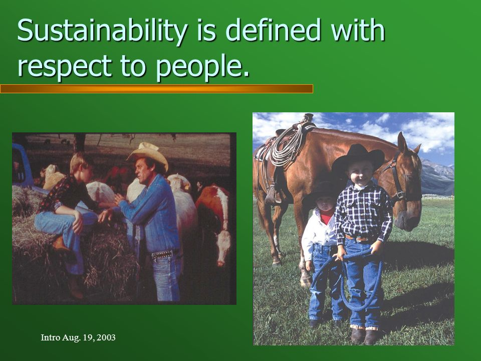 Intro Aug. 19, 2003 Sustainability is defined with respect to people.