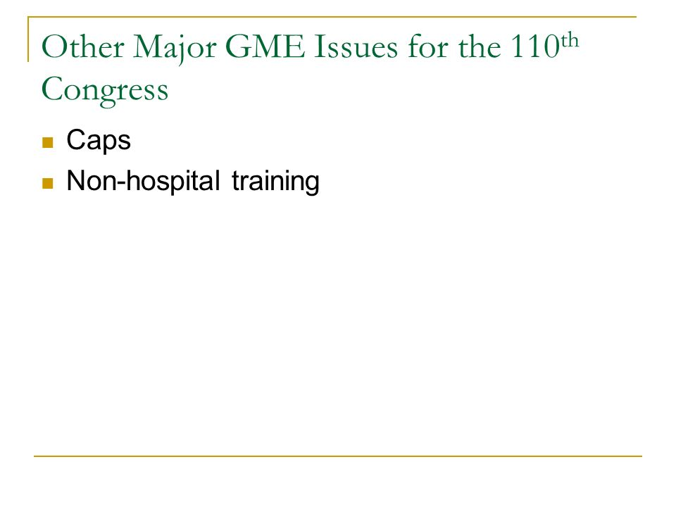 Other Major GME Issues for the 110 th Congress Caps Non-hospital training