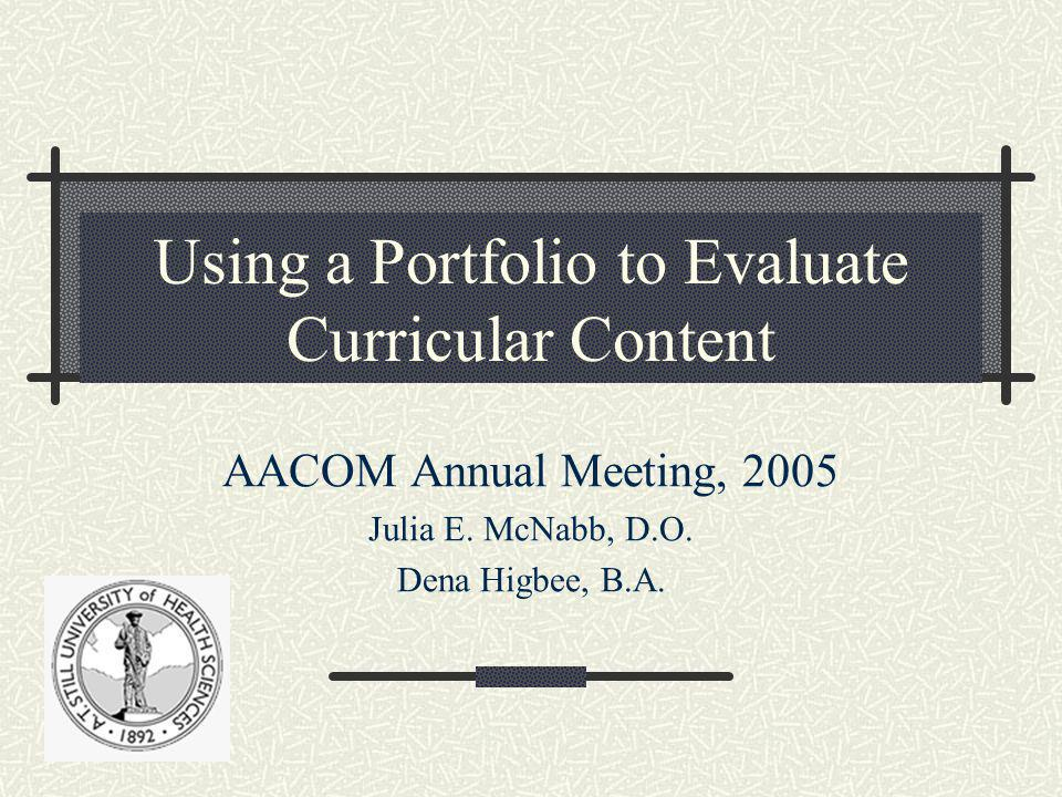 Using a Portfolio to Evaluate Curricular Content AACOM Annual Meeting, 2005 Julia E.