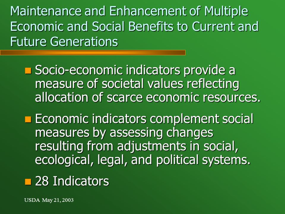 USDA May 21, 2003 Maintenance and Enhancement of Multiple Economic and Social Benefits to Current and Future Generations Socio-economic indicators provide a measure of societal values reflecting allocation of scarce economic resources.