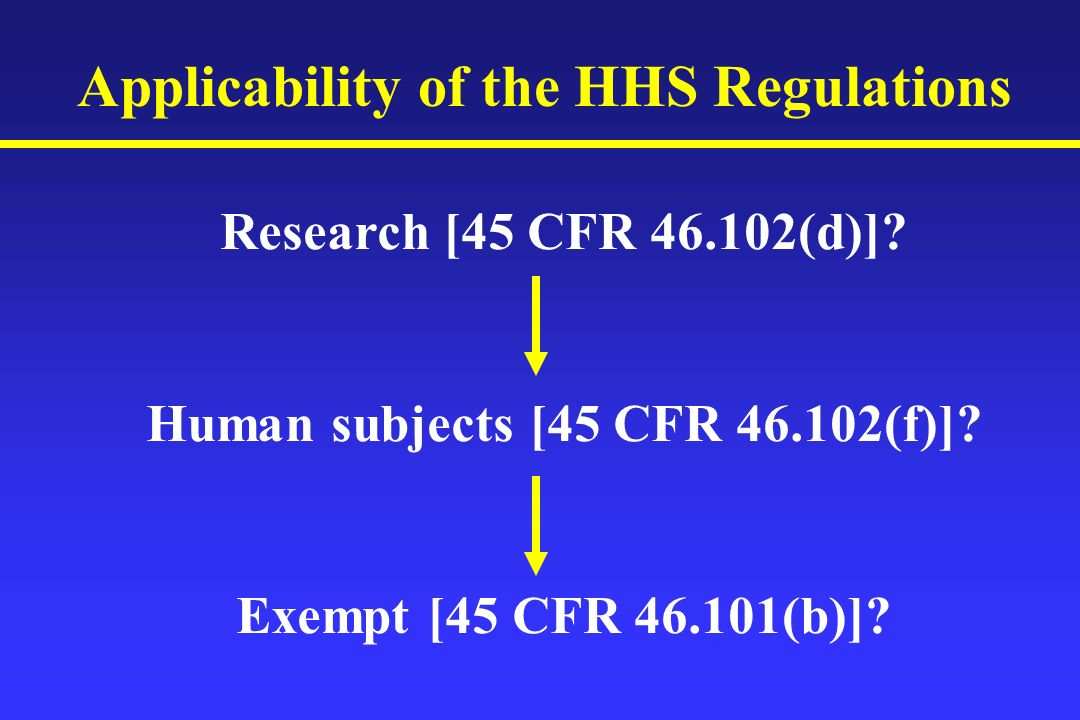 Applicability of the HHS Regulations Research [45 CFR (d)].