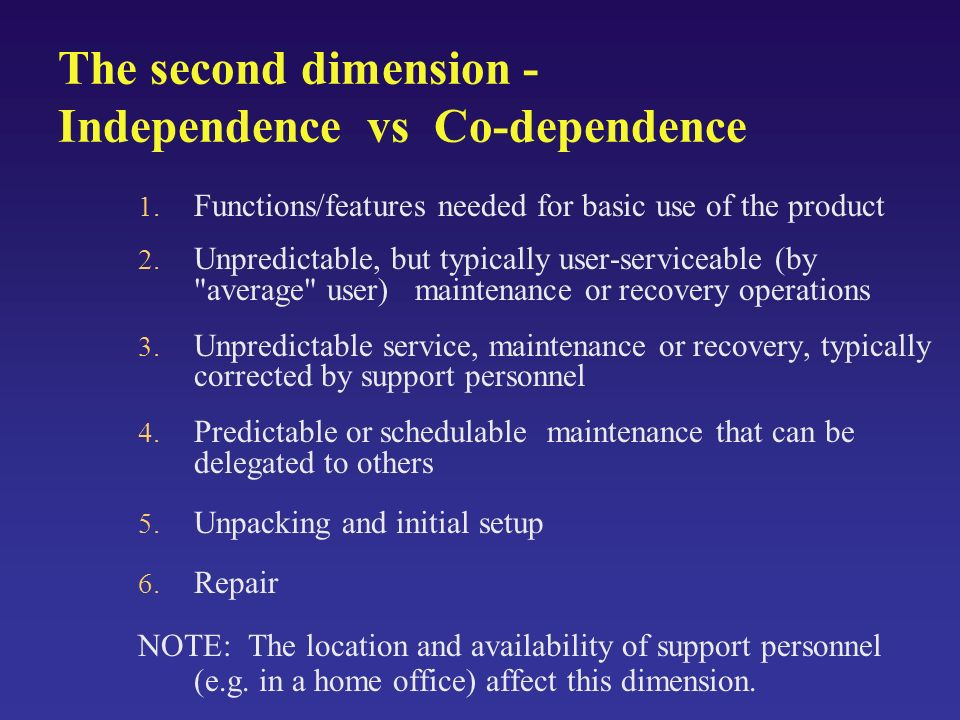 The second dimension - Independence vs Co-dependence 1.