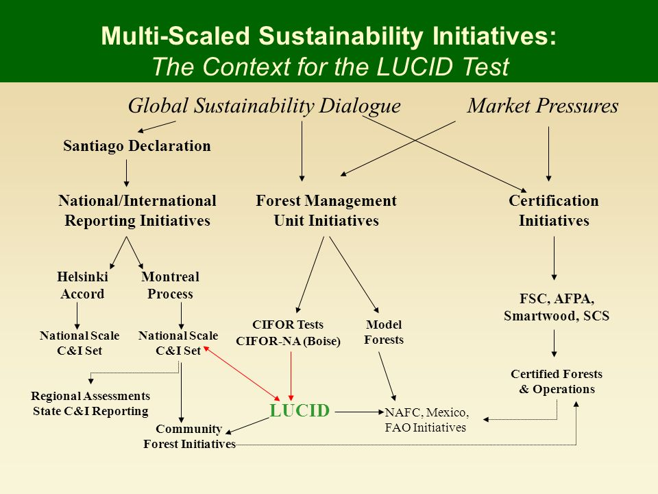 Certification Initiatives FSC, AFPA, Smartwood, SCS Certified Forests & Operations Market PressuresGlobal Sustainability Dialogue Santiago Declaration Montreal Process Helsinki Accord National/International Reporting Initiatives National Scale C&I Set National Scale C&I Set Regional Assessments State C&I Reporting Multi-Scaled Sustainability Initiatives: The Context for the LUCID Test Forest Management Unit Initiatives CIFOR Tests CIFOR-NA (Boise) LUCID Community Forest Initiatives Model Forests NAFC, Mexico, FAO Initiatives