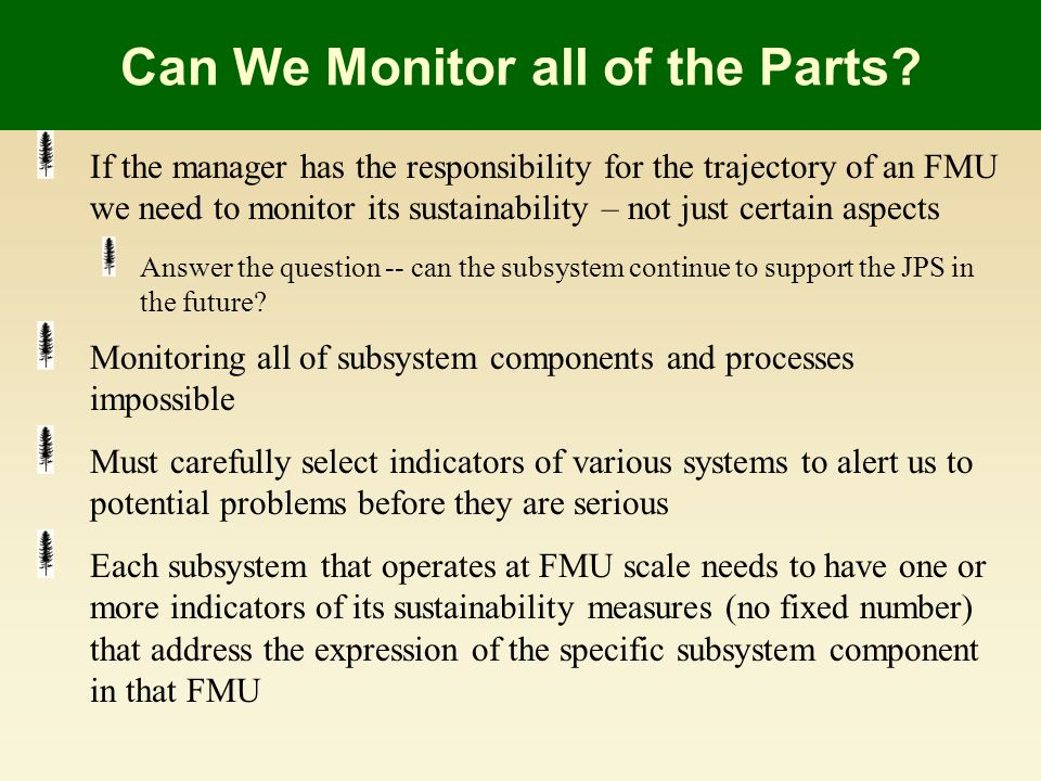 Can We Monitor all of the Parts.