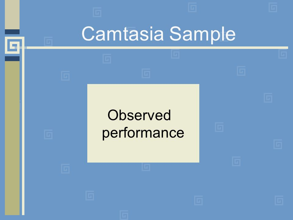 Camtasia Sample Observed performance